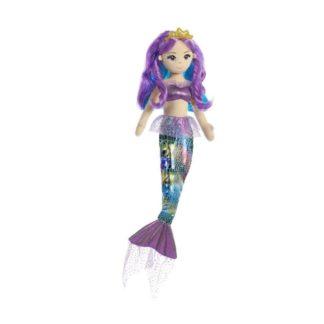 Látková Mořská panna Duhová fialová 46 cm
