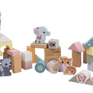 Dřevěné kostky se zvířátky v kyblíku 50 ks